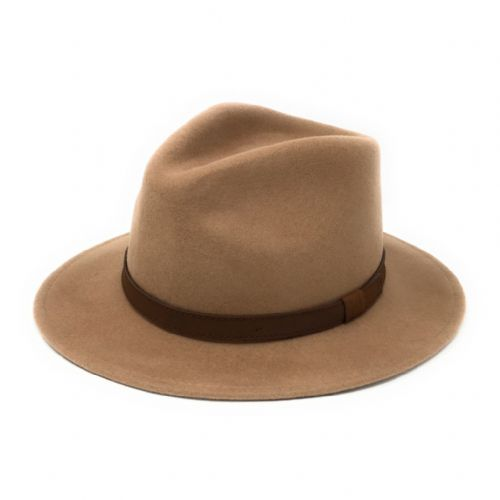 Fedora Hat Crushable Wool Felt with leather band - Camel - Haydock
